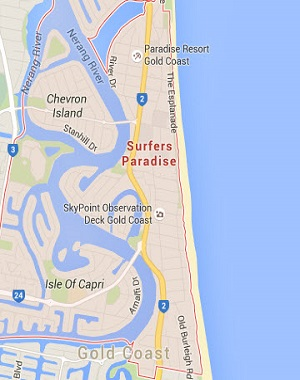 Surfers Paradise Gold Coast Location Map